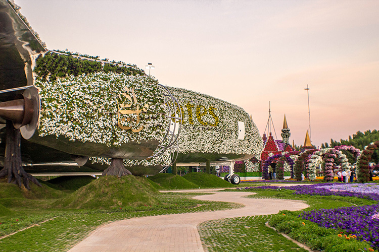 Side view of Emirates A380 at Dubai Miracle Garden